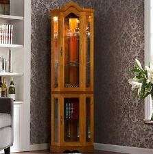 Item 5 Lighted Curio Cabinet Corner Tall Storage Display Case Mirrored Wood  Glass New  Lighted Curio Cabinet Corner Tall Storage Display Case Mirrored  Wood ...