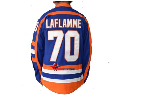 Goon Movie Highlanders Xavier LaFlamme Hockey Jersey 70 Stitched Sewn Men Blue