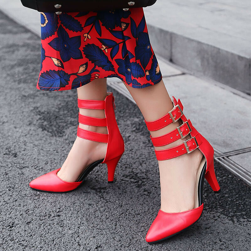 Fashon Buckle High Heels Women's shoes Pointed Toe Plus Size Spring Boots shoes