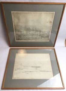 Antique-Pencil-Drawings-Countryside-Scene-Signed-Mounted-And-Framed