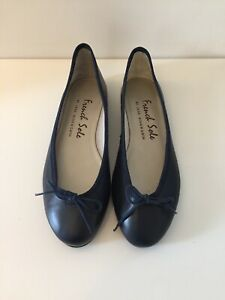 French Sole Navy Blue Leather Ballet