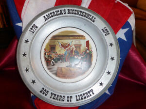 1976-America-039-s-Bicentennial-Pewter-Plate-Charger-1776-1976-200yrs-Art-China-Co