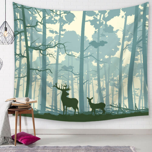 Wild Deer Tapestry Hippie Home Decorative Wall Hanging Yoga Mat Table Cloth Rug