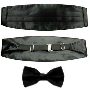New Set Men's Adjustable Pleated Solid Black Cummerbund Bowtie Pre Tied LJYF06