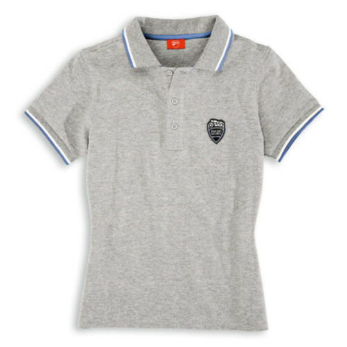 DUCATI Meccanica Femmes Manches Courtes Polo T-shirt gris LADY Neuf!!!