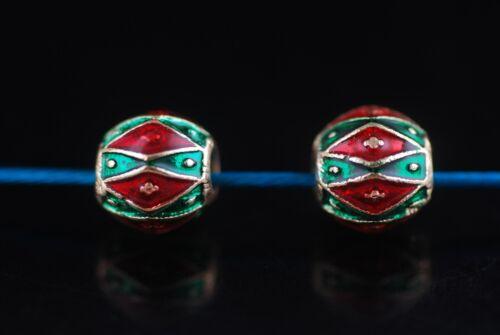 10Pcs 9x9mm émail Loose Bead Blotter perles boule spacer Bijoux Craft Findings