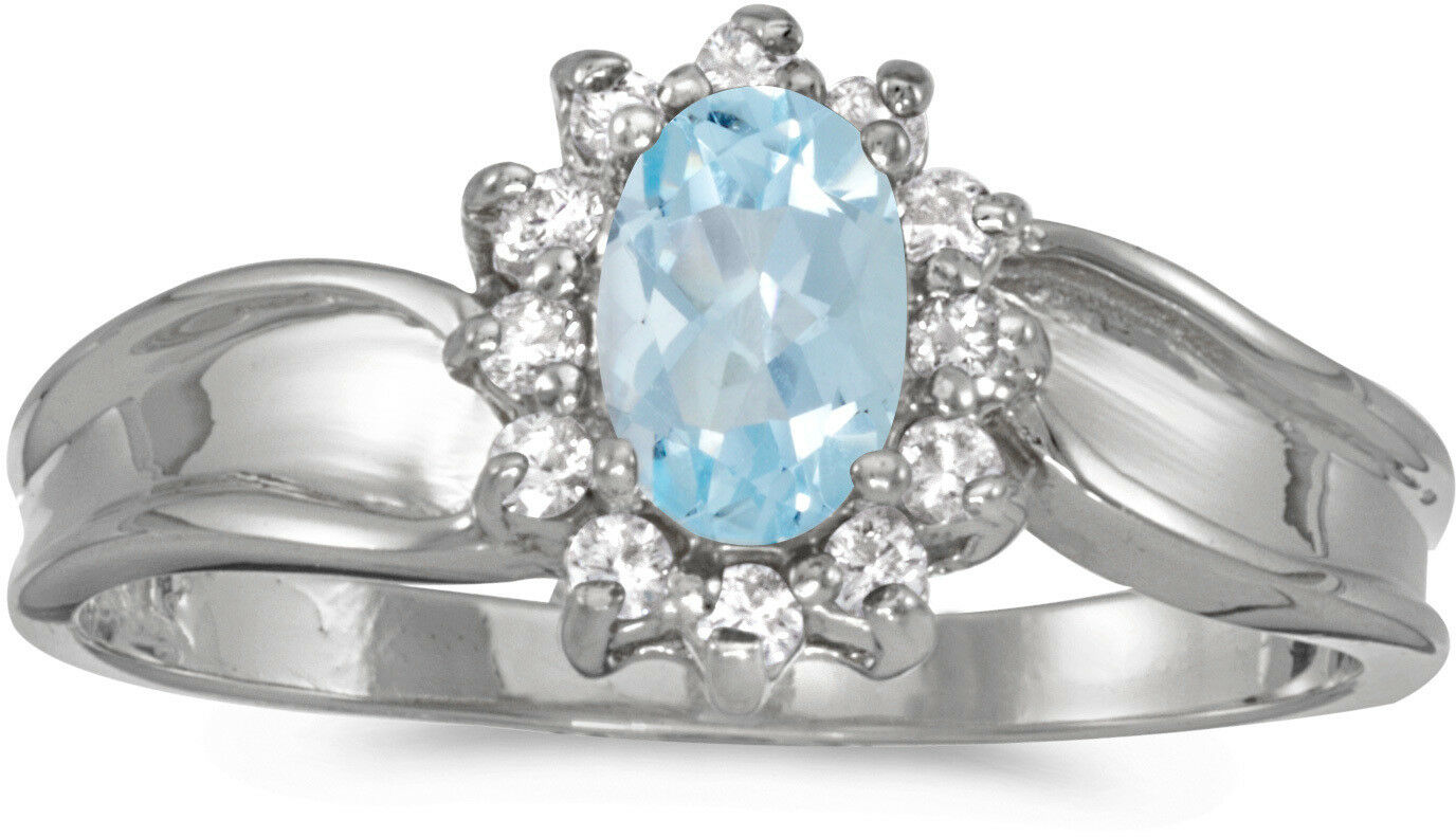 14k White gold Oval Aquamarine And Diamond Ring (CM-RM804XW-03)
