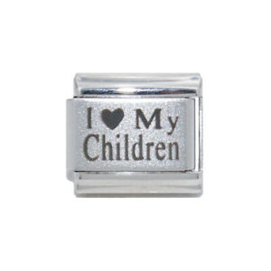 9mm Italian Charm  Red Heart Laser I Love My Kids Fits Classic Size Bracelet