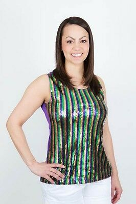 Mardi Gras Purple/Green/Gold Sequin Striped Front Ladies' Party Singlet Top