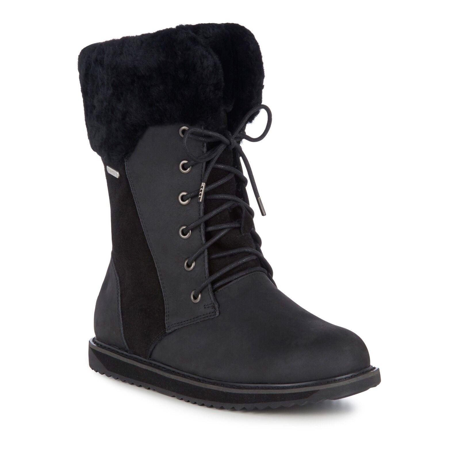 Women's EMU Boots Shoreline Leather Warm Sheepskin Linined Black Boot