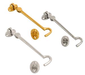 Cabin Hook /& Eye Silent Pattern Hook Hold Back Gate or Shed Door Brass or Chrome