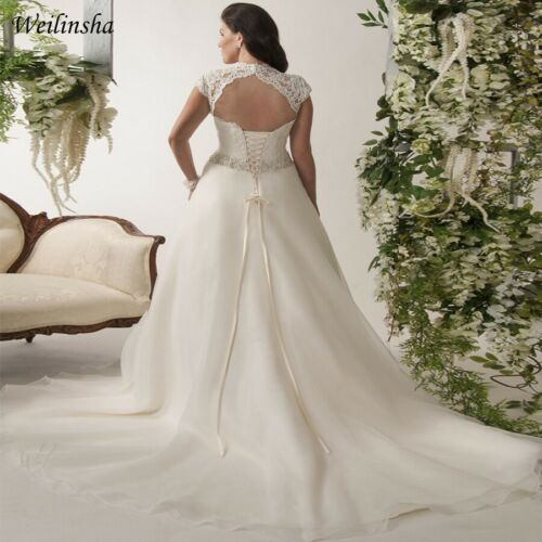 2020 New Arrive Plus Size White//Ivory Bridal Gown Lace Wedding Dress Size 14-26