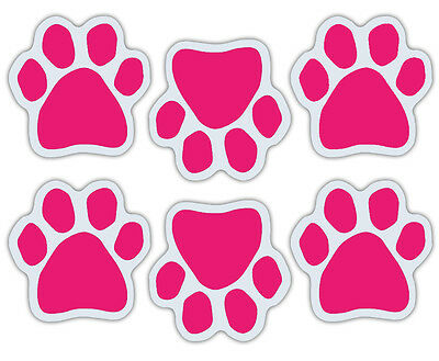 More - Pink Rescue Mom Refrigerator Car Set of 6 Mini Dog Paw Magnets