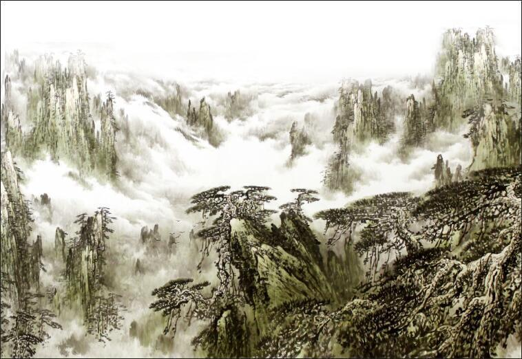3D Mountain nature painting Wall Paper Print Decal Wall Deco Indoor wall Mural