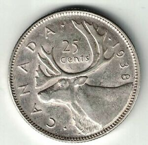 CANADA-1938-25-CENTS-QUARTER-KING-GEORGE-VI-CANADIAN-SILVER-COIN