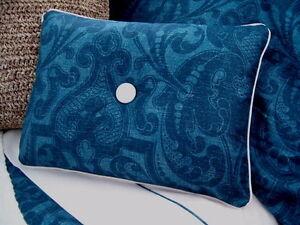 NEW Custom Ralph Lauren Driver Stripe Accent Pillow 1 Button White Piping