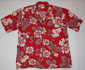 ae95ab92 Vintage Red Hilo Hattie Men's Aloha Shirt Cotton Style 502 L Large ...