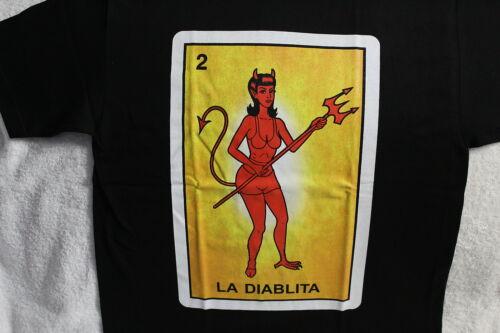 LA DIABLITA DEVIL MEXICO MEXICAN LOTERIA LOTTERY NUMBER 2 CHICANO T-SHIRT SHIRT