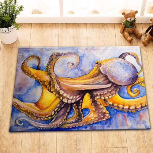 "Watercolor Octopus Art Paint Waterproof Fabric Bath Shower Curtain Hook 72//79/"""