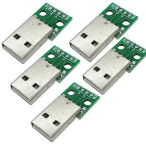 5PCS-USB-Male-to-2-54mm-DIP-Adapter-Converter-Board-4-Pin-PCB-DIY-Power-Supply