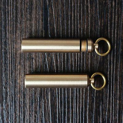 Waterproof Brass Box Case Medicine Bottle Holder Container Keychain Ornate BSX21