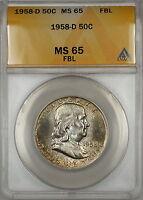 1958-D Silver Franklin Half Dollar Coin ANACS MS-65 FBL Toned Gem
