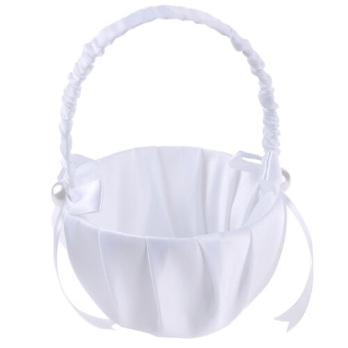 White Satin Beaded Wedding Flower Girl Basket Bowknot Declo