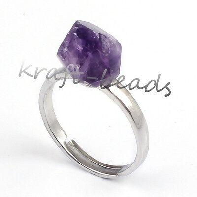 Natural Druzy Amethyst Quartz Crystal Stone Adjustable Reiki Stone Finger Ring