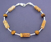 Jasper And Tiger Eye Bracelet With Sterling Silver Clasp - 7, 8, 9, Or 10 Inches