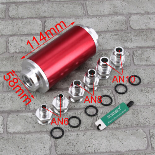 UNIVERSAL RED ALUMINUM IN LINE INLINE FUEL OIL FILTER AN6 AN8 AN10 100 MICRON