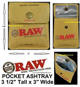 NEW-RAW-Cigarette-Rolling-Papers-Brand-Pocket-Ashtray-3-1-2-034-tall-X-3-034-wide