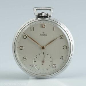 Seltene-flache-Rolex-Stahl-Taschenuhr-Cortebert-Kaliber-618-Panerai-1950