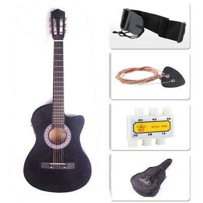 "Kit Guitarra Electroacustica 38"" Black Electro Acoustic Guitar Combo Cutaway Typ Activating Blood Circulation And Strengthening Sinews And Bones Acoustic Electric Guitars Guitars & Basses"