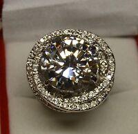 Grosse Bague Rhodié Blanc Ronde 25mm Marquise Diamant Cz Dolly-Bijoux 54 56 58