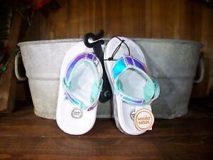 NEW Toddler Girls Wonder Nation Black Rhinestone Wedge Flip Flop Sandals 5-6