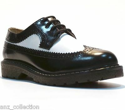 Grinders Bertrum ACS Black American Brogue Lace up Men/'s Womens Leather Shoes.