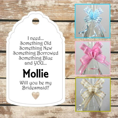 Personalised Will you be my Bridesmaid gift tag Wedding Bride Handmade Multi #3