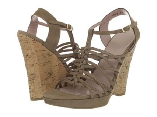 New in Box Stuart Weitzman Taille 9.5 M Barrister Tan Leather Wedge Sandals