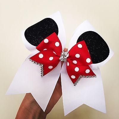 Minnie Ears White Cheer Bow With Red Polka Dot Mini Bow Rhinestone Trim Disney