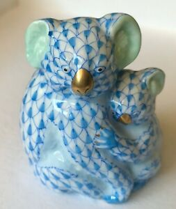 Gorgeous-Herend-Hand-painted-Koala-Mum-amp-Baby-in-Blue-Fish-Scale-Design