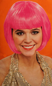 Hot Pink Bob Wig Costume Adult Women Bangs Short Hair Punk 80s Halloween New 82686600965 Ebay