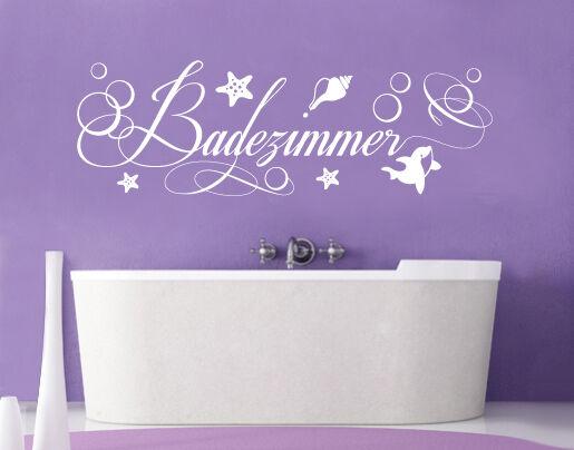 Wandtattoo Badezimmer Badewanne Delphin Delfin Bad WC Seestern Wand-Deko bsm050