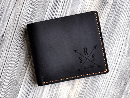 Personalized Leather Wallet Mens Leather Purse Custom Christmas Gift for Husband