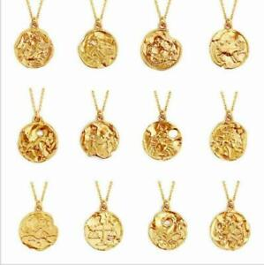 Zodiac-Pendant-Gold-Chain-Constellation-Zirconia-Necklace-Stainless-Steel-New