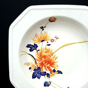 Mikasa-Majestic-Continental-Ivory-4-Soup-Bowls-Orange-Flowers-8-3-8-in-Japan-EUC