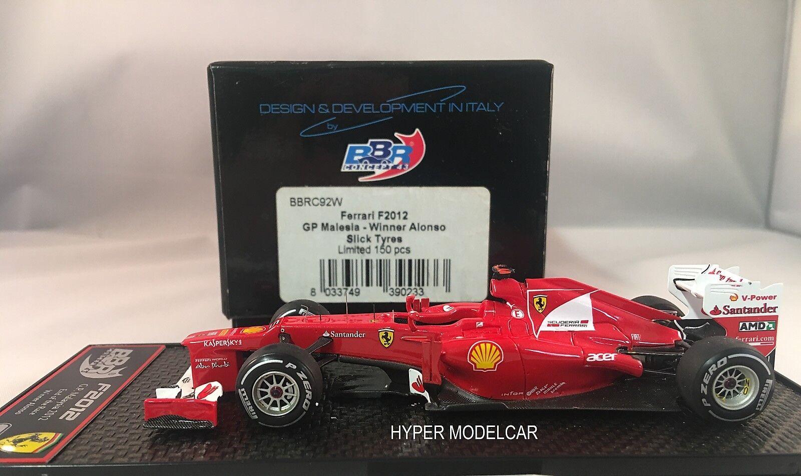 BBR Models 1 43 F1 Ferrari F2012  5 Winner Gp Malesia  F. Alonso BBRC92W