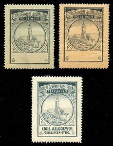 Allemagne Poster Stamps - 1898-geislingen-steig Regional Exposition - 3 Diff.-ig Regional Exhibition - 3 Diff.fr-fr Afficher Le Titre D'origine
