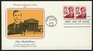 #1305E 15c Oliver Wendell Holmes-Pair, Fleetwood FDC Cualquier 5=
