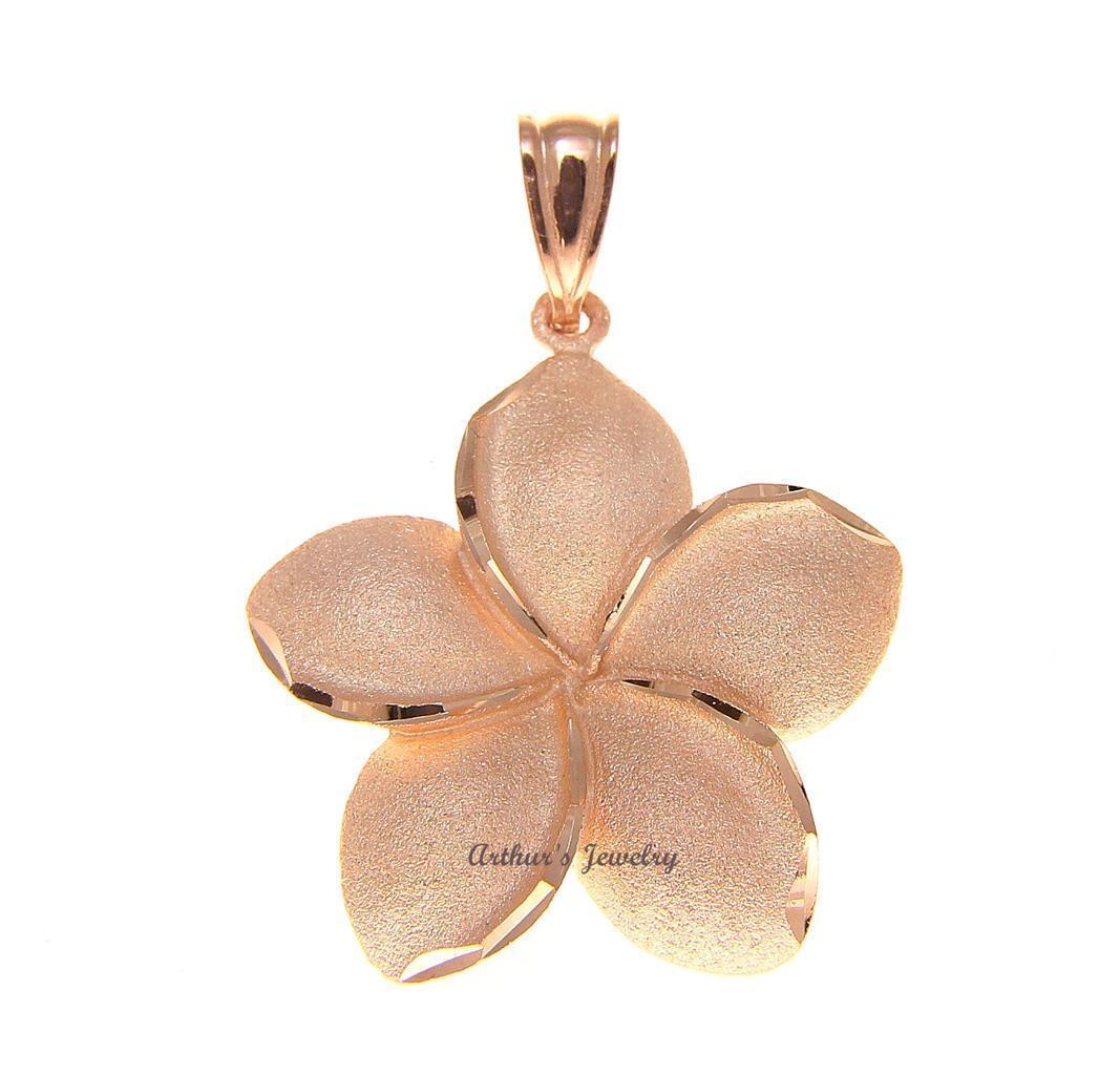 22MM SOLID 14K PINK pink gold HAWAIIAN PLUMERIA FLOWER PENDANT