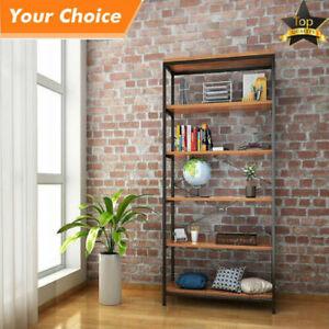 3-4-5-Shelf-Bookcase-Bookshelf-Industrial-Metal-Wood-Bookshelves-Vintage-Storage